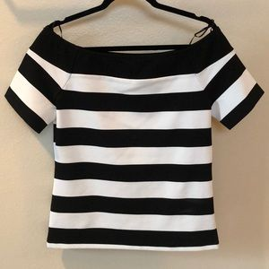 Black and white stripe off the shoulder top.